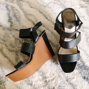 Vince Camuto Black Strappy Wedges